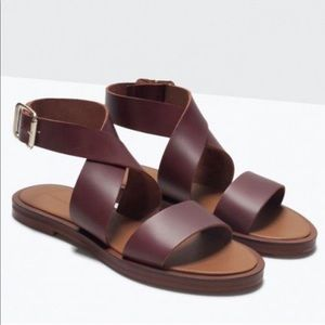 Zara Burgundy Flat Leather Ankle Wrap Sandals 38